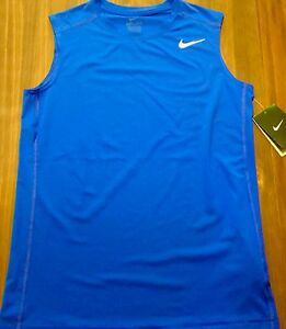 NWT Nike Boy YXL Royal BlueWhite Tank Top Sleeveless FITTED Dri-Fit Shirt XL