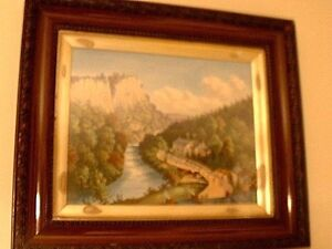 RARE Antique Victorian Painting On Porcelain Artist Signed In Orig Gilded Frame $1125.00