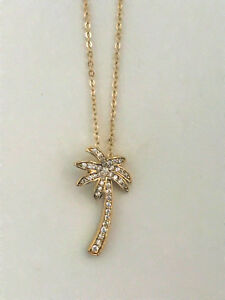 Palm Tree Necklace Pendant with Cubic Zirconia 18 Chain 24k Yellow Gold Plated $27.97