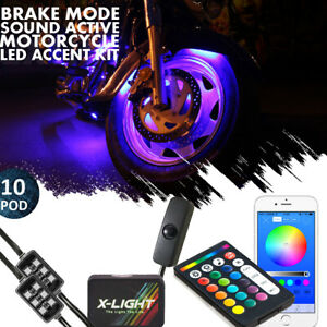 10 Pod Motorcycle Music Bluetooth Control Remote LED 84 Neon Accent Glow Light $59.99