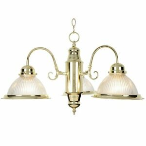 Monument 671694  Halophane Glass Chandelier Polished Brass 19 X 13 In.