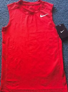 NWT Nike Boy YSM RedWhite Sleeveless FITTED Tank Top Dri-Fit Shirt Small
