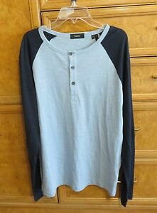 Men's Theory long sleeve baseball shirt navy and light blue size S new NWT $125