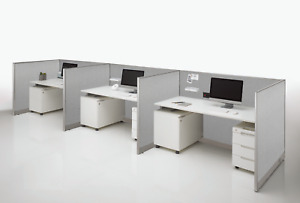 GOF Office Cubicle 4 Stations 60Dx96Wx72H Open Cubicle Configuration
