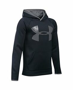 Under Armour Boys Storm Armour Fleece Highlight Big Logo Hoodie Black 001 #3B0