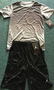 NWT Nike Jordan Boys YLG BlackGrayWhite Fade Graphic Dri-Fit Shorts Set Large