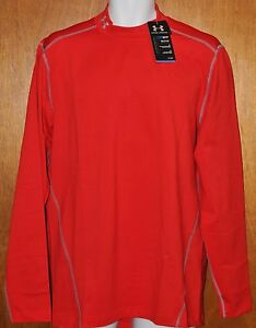 Men's Under Armour Coldgear Evo Fitted Mock Shirt #1248945  Red  Size Large