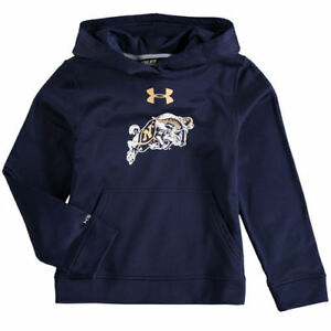 Navy Midshipmen Under Armour Youth Armour Fleece Pullover Hoodie - Navy - NCAA