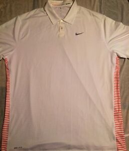 Nike Tiger Woods Collection Dry Fit Golf Shirt Size XXL Orange Striped Back
