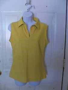 Nike Fit Dry Golf Polo Tank Tee Top Shirt Yellow Purple Striped Size M Women's