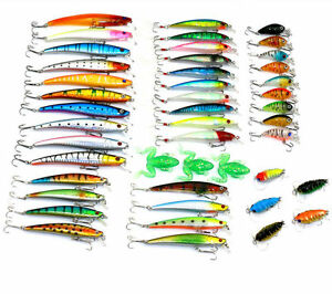 45pcs Assorted Fishing Lures Bass Baits Minnow Cicada Soft Frog CrankBait Tackle