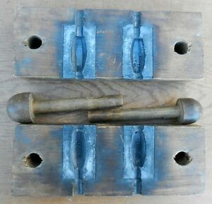 Vintage Wood Encased Fishermans Lead Sinker Weight Mold - Collectible -  B8
