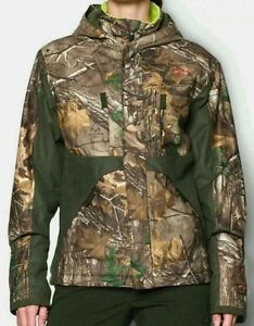 Under Armour Camo Hunting Coat Jacket Womens Real Tree Xtra Scent Control Storm