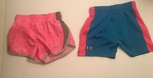 Lot Of 2 Nike dry-fit under Armour girl toddler Shorts Sz 3T-4T