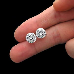 6 Ct Solid 14K White Gold Basket Round Brilliant Cut Solitaire Earrings Studs