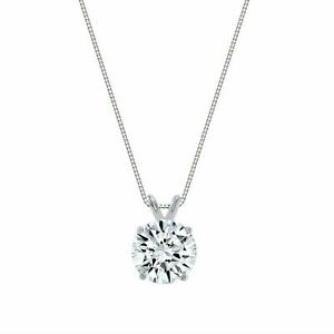 2.50ct Created Diamond Pendant 14K Solid White Gold Solitaire Charm 9mm