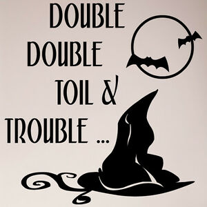 24quot; Double Double Toil and Trouble Wall Witch Hat Halloween Decal Sticker