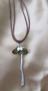 White Pearl & Leaf shaped Pendant Necklace Leather Cord- 1 of Kind!