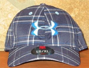 LXL UNDER ARMOUR Ball Cap Fitted Hat Galaxy Plaid heatgear Golf Navy Blue