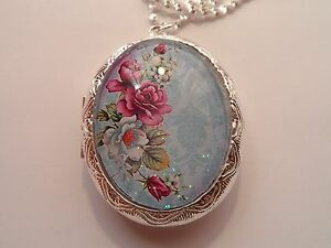 SILVER PLATED VICTORIAN ROSE OVAL LOCKET NECKLACE 26quot; $22.99
