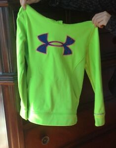 Girl's Under Armour Hoodie Sweatshirt Neon Green Youth Small YSM SM