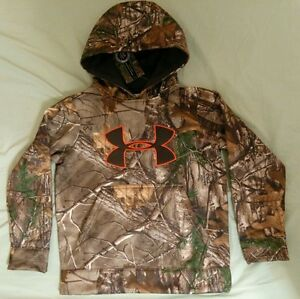 Boys Under Armour Cold Gear Camo Fleece Hooded Sweatshirt size YXL 16-18 New wt