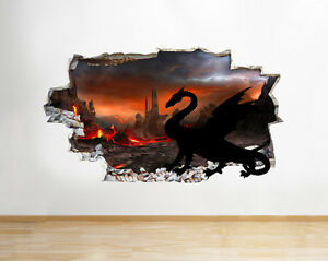 Q058w Dragon Castle Volcano   Lava Smashed Wall Decal 3D Art Stickers Vinyl Room