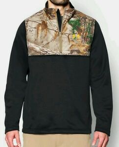 Mens Camo Sweatshirt 14 Zip up Pull Over Jacket Under Armour Black Size Large L