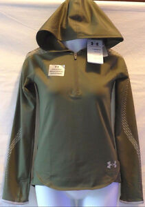 Under Armour Fitted COLDGEAR 1263735 Girls Reflective Green POPOVER Hoodie sz-XL