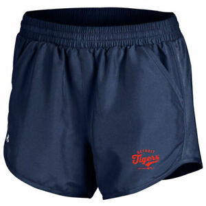 Detroit Tigers Under Armour Women's Fly By Running Shorts - Navy - MLB