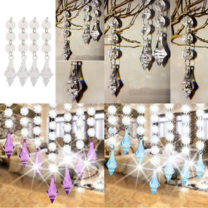 10 Pcs Acrylic Crystal Beads Garland Chandelier Hanging Wedding Party Home Decor