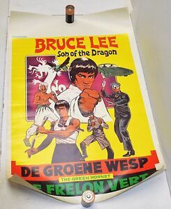 Vintage BRUCE LEE Green Hornet Poster 14X22 Foreign ORIGINAL Son of the Dragon