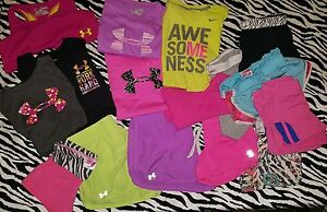 Under Armour Nike SOFFE shirts shorts girls youth sizes med L XL lot of 16