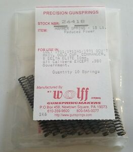 26418 WOLFF FITS COLT 1911 COMMANDER 9MM 10MM HAMMER SPRINGS 18# - 10 PAK