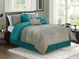 Chezmoi Collection 7 piece Teal Cherry Blossoms Floral Embroidery Comforter Set