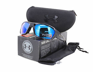NEW Under Armour Force Storm Ansi Shiny Black Grey Polar Blue Mirror Sunglasses