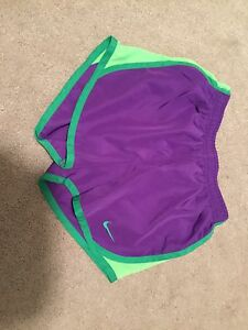 Nike Girls Youth Purple Green 6x Dry-fit Euc Shorts Athletic