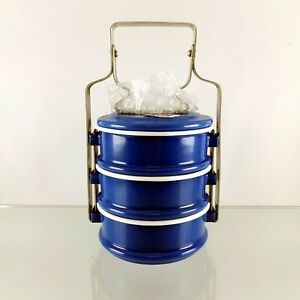 Enamel Tiffin Lunch Box Food Bento Carrier Container Pinto Enamelware Blue