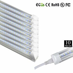 10x LED 4 Foot T8 Integrated Tube Light W Bracket 20w Bright White CLEAR 6500K