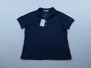 NWT NEW Womens Nike Fit Dry Classic Golf Blue Work Out Polo Shirt Sz L 12-14