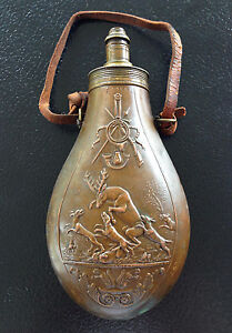 Antique Powder Flask JNN A Paris Dogs Attacking Deer  Stag Scene Nice Details