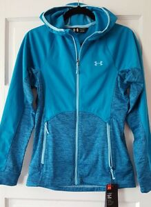 $125 New Women's Under Armour Cold Gear Fitted Hoodie blue Jacket size SM P