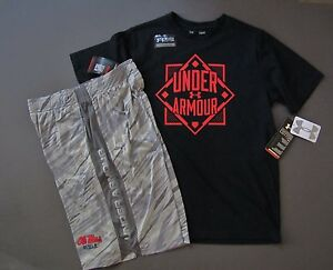 Under Armour Youth kids active Outfit Shorts and UA T Shirt YL Youth L NWT