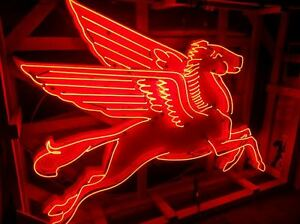 New Large Right Facing Mobil Pegasus Cookie Cutter Sign with Neon - SSN
