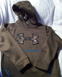 Boys' Under Armour Hoodie Size Med Pullover Sweatshirt Brown w Camo Trim EUC