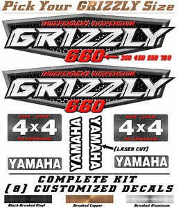 Yamaha Grizzly OEM ATV Tank Decal Graphic Sticker Kit 350 450 550 660 700 4x4