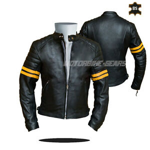 Black CE ARMOURED Leather Motorcycle Motorbike Racing Jacket any size