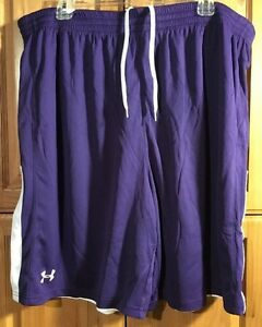 UNDER ARMOUR CQQL! NWOT Women's Undeniable Reversible Shorts Purple  White 2XL
