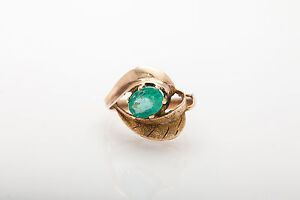 Antique 1940s $3000 1.50ct Colombian Emerald 14k Yellow Gold TREE LEAF Ring