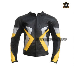 Black leather jacket with yellow and grey lining motorbike racing armour jacket